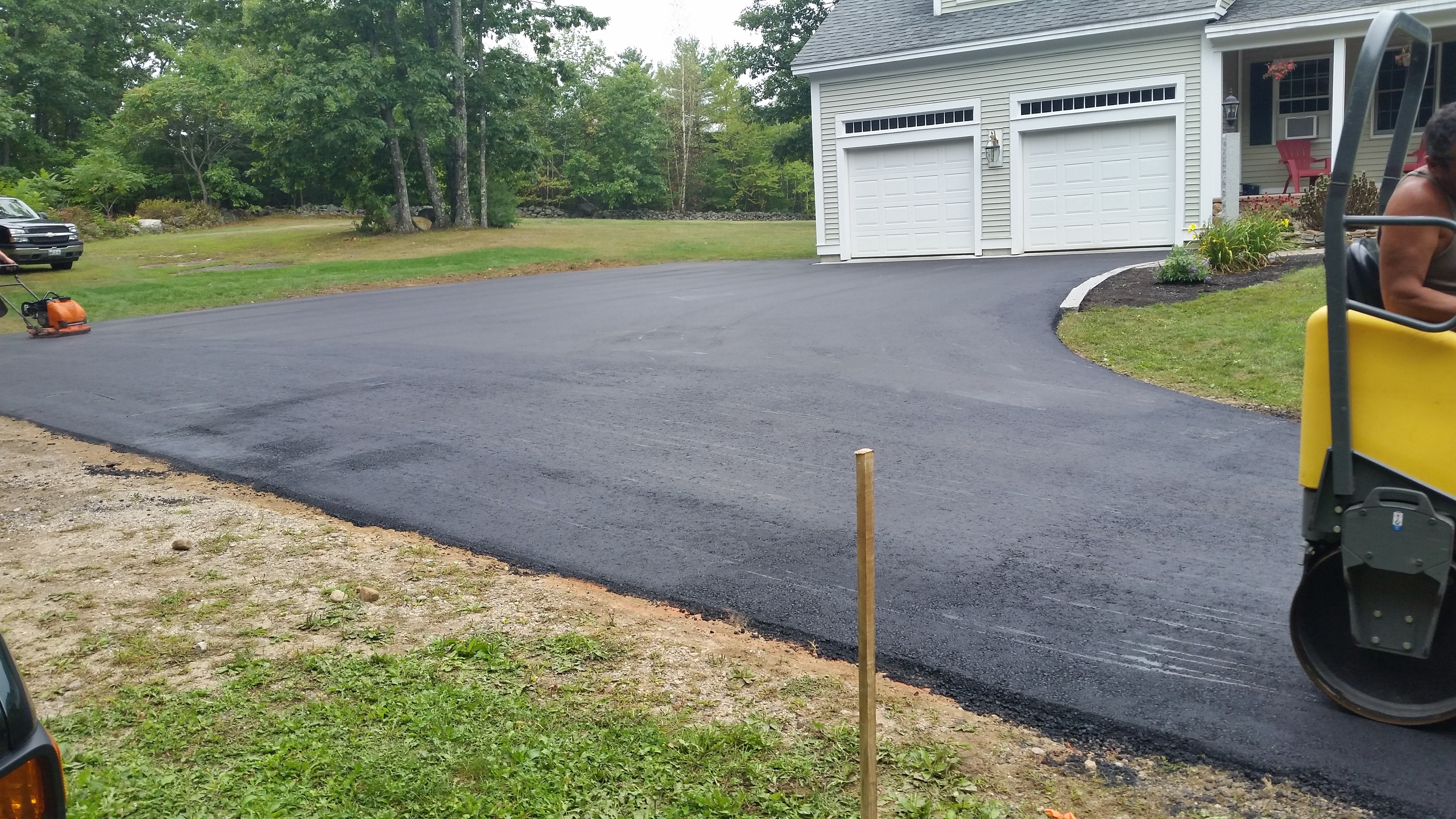 New paved driveway in New Hampshire